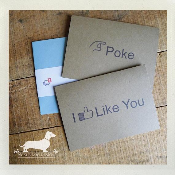 Poke. I Like You. Note Card