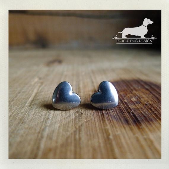 Hematite Heart. Silver Heart Post Earrings
