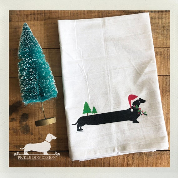 Christmas Doxie. Tea Towel