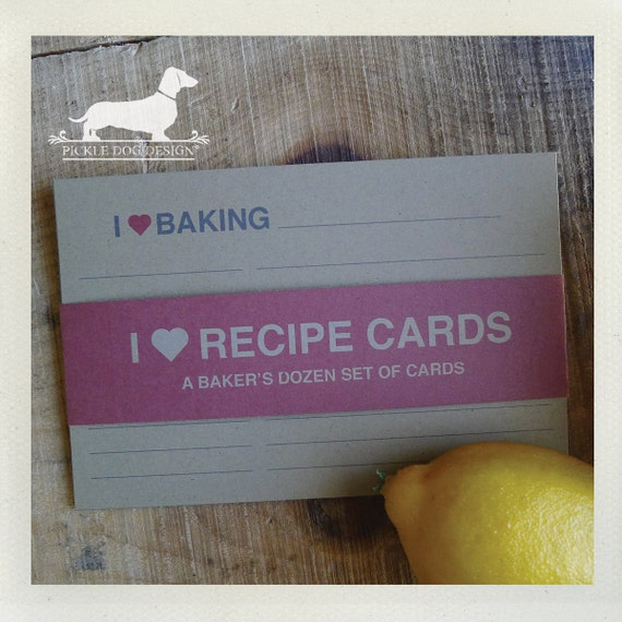 I Heart. A Baker's Dozen (Qty 13) Set of 4x6 Recipe Cards