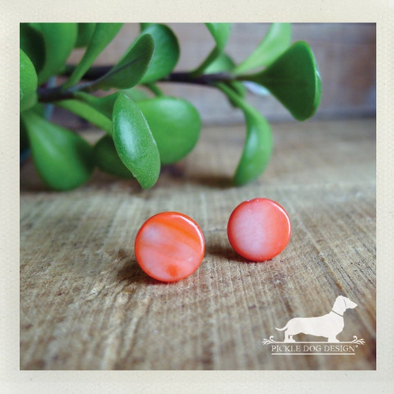 DOLLAR DEAL! Coral Cirque. Post Earrings -- (Coral, Pink, Small Studs, Simple, Bridesmaid Jewelry, Shell, Coral Wedding, Cute, Gift Under 5)