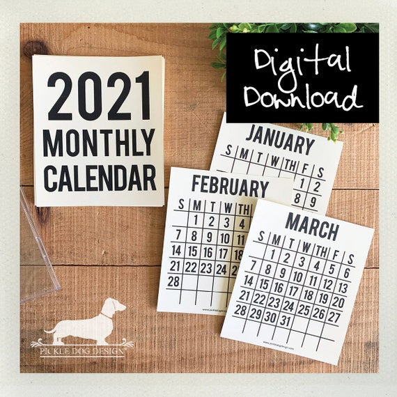 DIGITAL DOWNLOAD! 2021. Printable Desktop Calendar