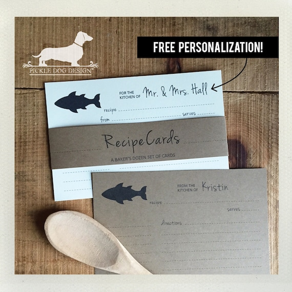 Fish. Free Personalization. A Baker's Dozen (Qty 13) Set of Recipe Cards