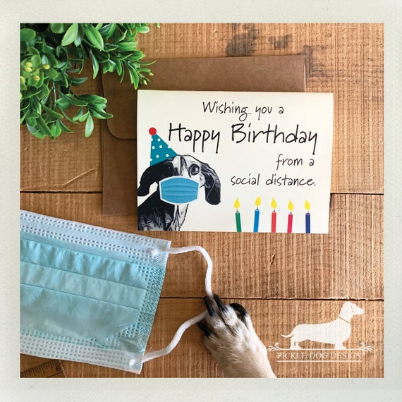Social Distance Doxie Birthday. Note Card