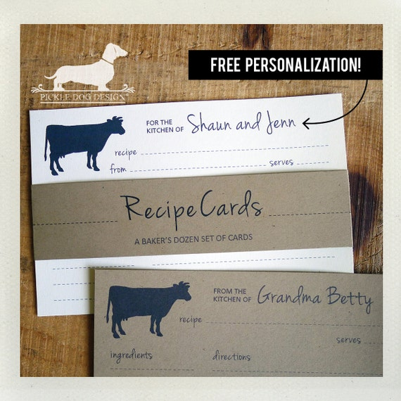Cow. Free Personalization. A Baker's Dozen (Qty 13) Set of Recipe Cards
