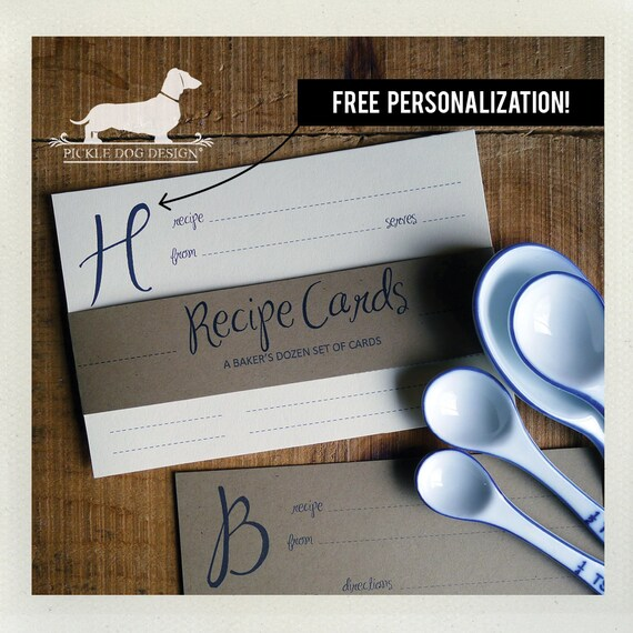 Initial. Free Personalization. A Baker's Dozen (Qty 13) Set of Recipe Cards