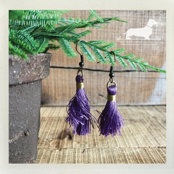 Purple Tassel. Dangle Earrings