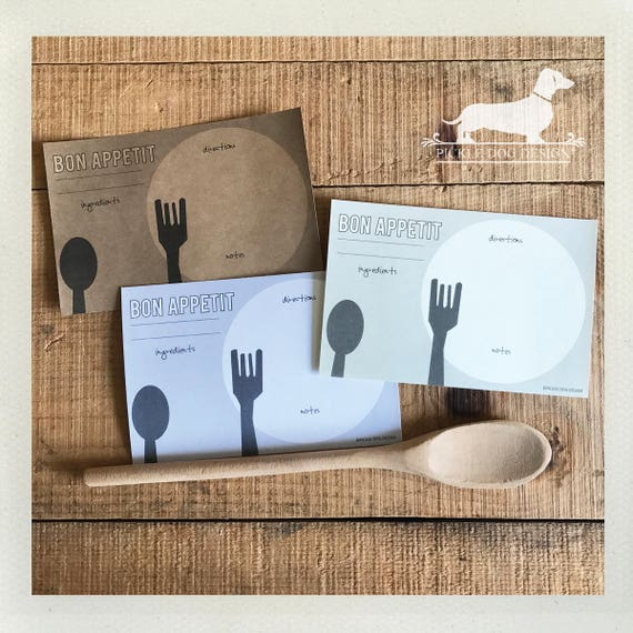 Spoon and Fork. A Baker's Dozen (Qty 13) Set of 4x6 Recipe Cards