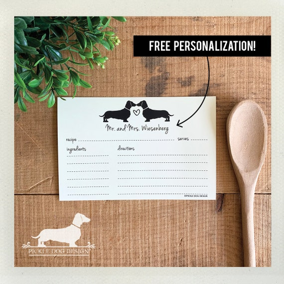 Doxie Love. Free Personalization. A Baker's Dozen (Qty 13) Set of Recipe Cards