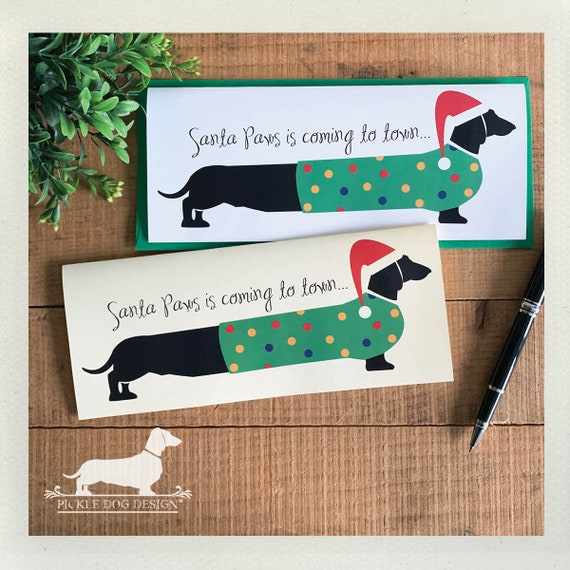Santa Paws Doxie. Note Card