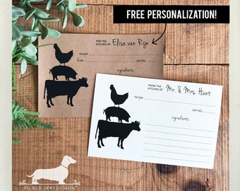 On the Farm. Free Personalization. A Baker's Dozen (Qty 13) Set of Recipe Cards -- (3x5, 4x6, Rustic, Wedding Gift, Bridal Shower Favor)