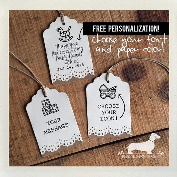 Baby Lace. Personalized Gift Tags (Set of 12)