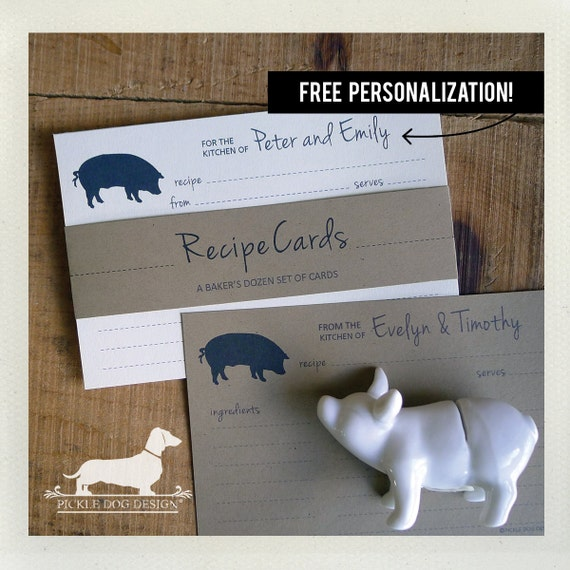Pig. Free Personalization. A Baker's Dozen (Qty 13) Set of Recipe Cards