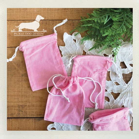 LAST CHANCE! Pink. Set of 4 Muslin Bags -- (Vintage-Style, Rustic, Birthday Gift Wrap, Bridal Shower Favor, Baby Shower Favor, Party Favor)