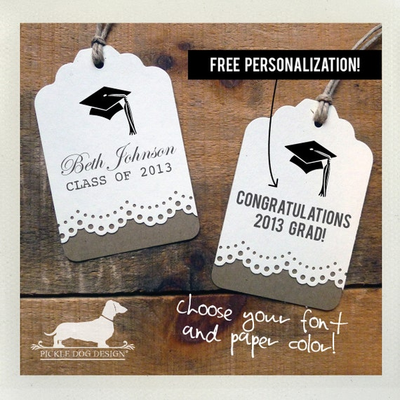 Congrats Grad. Personalized Gift Tags (Set of 12)