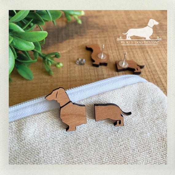 Long Doxie. Post Earrings -- (Dachshund, Long Dog, Dog Earrings, Vintage-Style, Sausage Dog, Wood Weiner Dog, Birthday Gift, Dog Lover Gift)