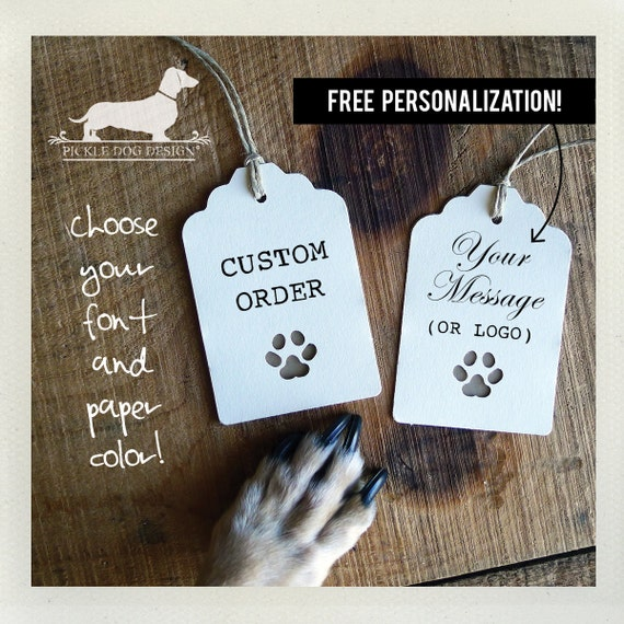 Paw Print. Personalized Gift Tags (Set of 12)
