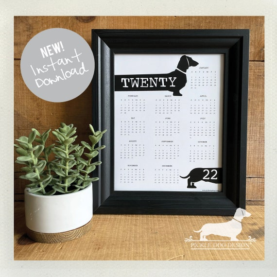 DIGITAL DOWNLOAD! Doxie. Printable 2022 Wall Calendar -- (Vintage-Style, Dog, Dachshund, Wiener Dog, Instant Download, Easy Christmas Gift)