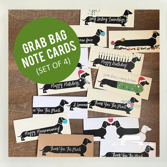 DOLLAR DEAL! Grab Bag. Doxie Note Cards (Set of 4)