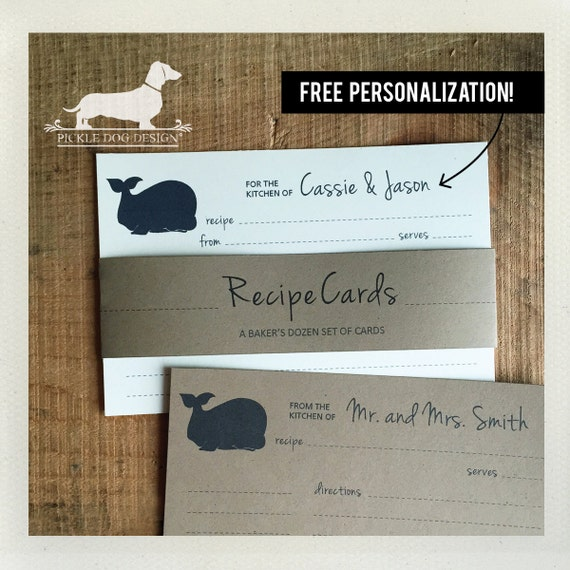 Whale. Free Personalization. A Baker's Dozen (Qty 13) Set of Recipe Cards