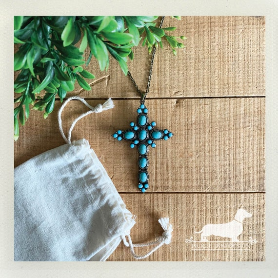 Turquoise Cross. Necklace