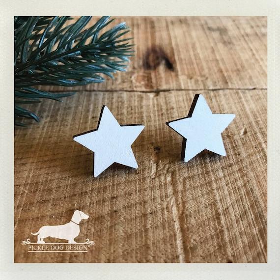 DOLLAR DEAL! White Star. Post Earrings
