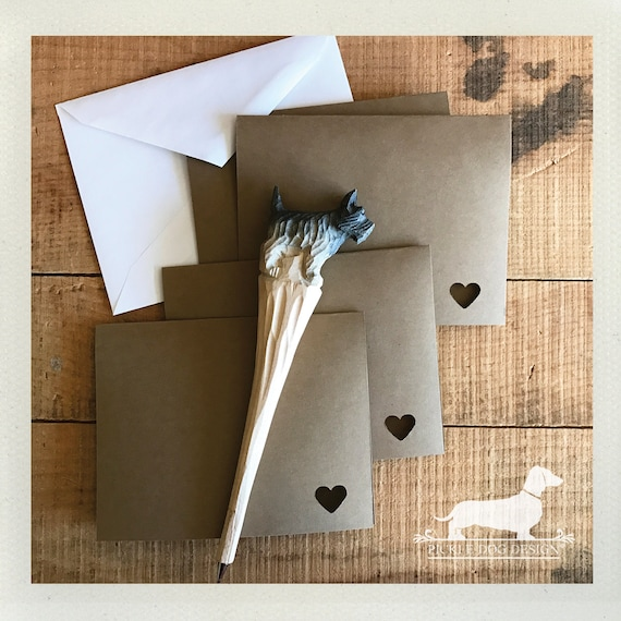 DOLLAR DEAL! Mini Heart. Brown Kraft Note Cards (Set of 4)