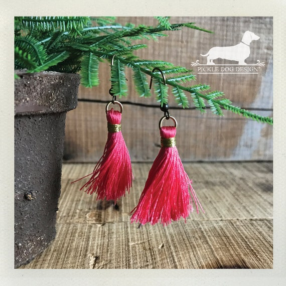 Pink Tassel. Dangle Earrings