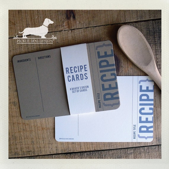 Traditional Kraft. A Baker's Dozen (Qty 13) Set of 4x6 Recipe Cards