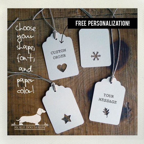 Single Shape. Personalized Gift Tags (Set of 12)