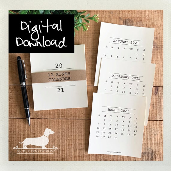 DIGITAL DOWNLOAD! Minimalist. Printable 2021 Desktop Calendar
