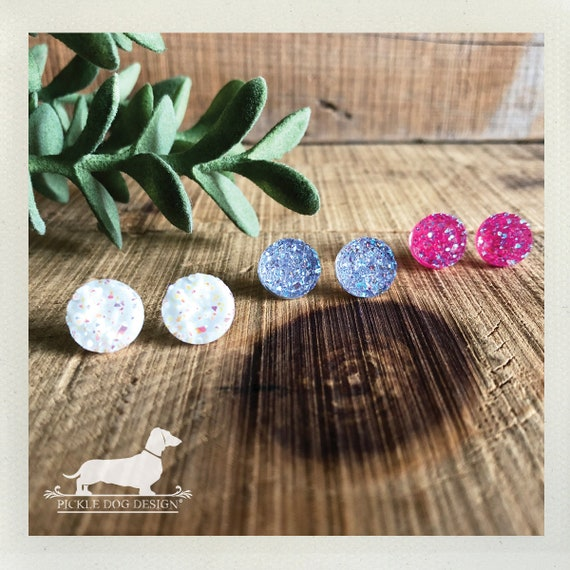 DOLLAR DEAL! Colorful Druzy. Post Earrings