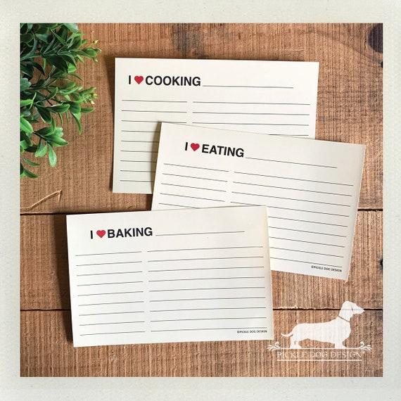 I Heart. A Baker's Dozen (Qty 13) Set of 4x6 Recipe Cards