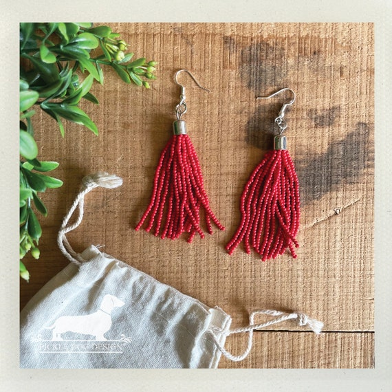 Red Beaded Tassel. Dangle Earrings