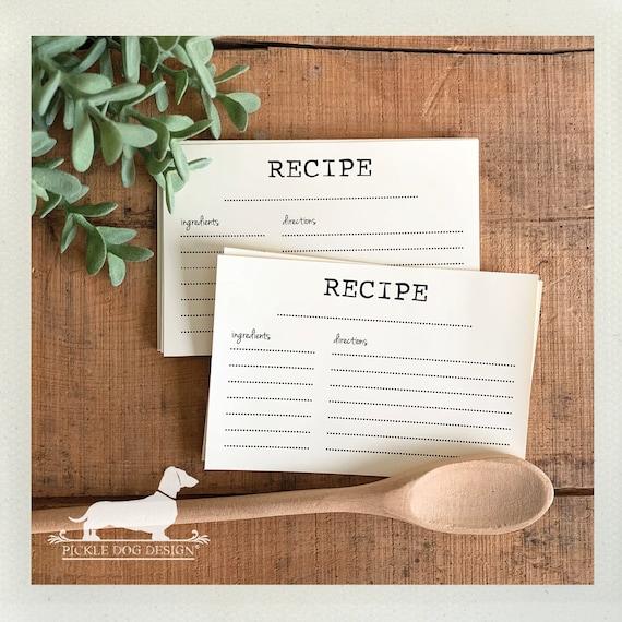 Minimalist. A Baker's Dozen (Qty 13) Set of Recipe Cards
