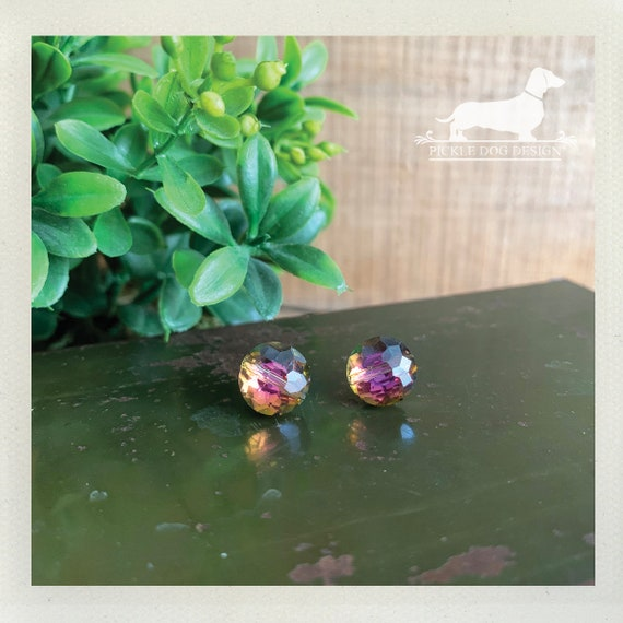 Glass Gem. Post Earrings