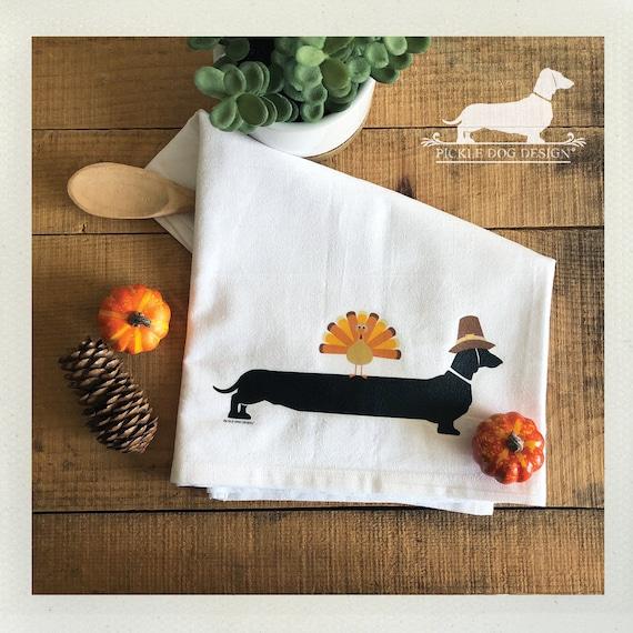 Thanksgiving Doxie. Decorative Tea Towel