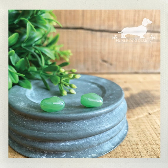 Opaque Green. Post Earrings