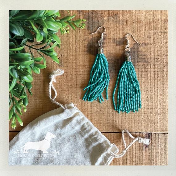 Turquoise Beaded Tassel. Dangle Earrings