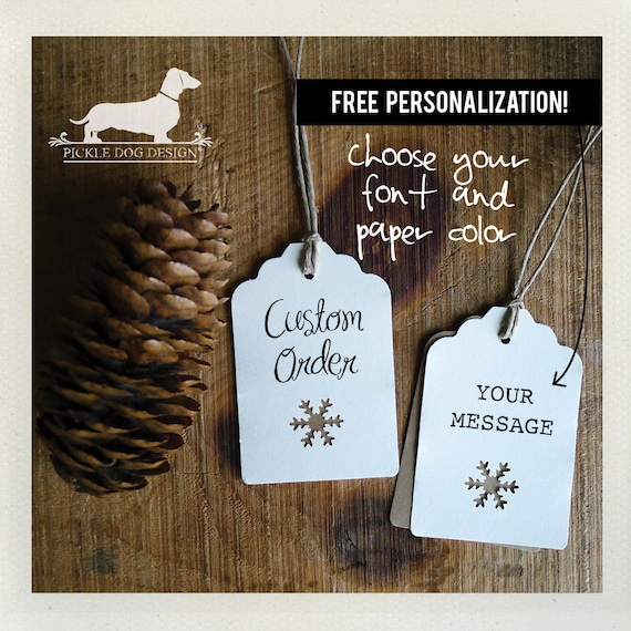 Ivory Snowflake. Personalized Gift Tags (Set of 12)