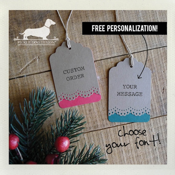 Natural Holiday Lace. Personalized Gift Tags (Set of 12)