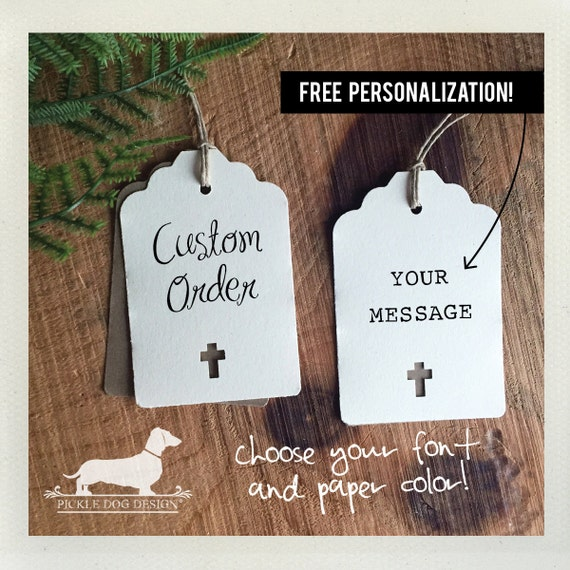 Ivory Cross. Personalized Gift Tags (Set of 12)