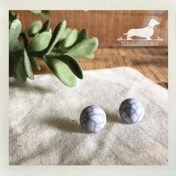 DOLLAR DEAL! White Marble. Post Earrings