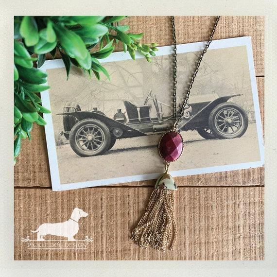 Rose Red Fringe. Necklace