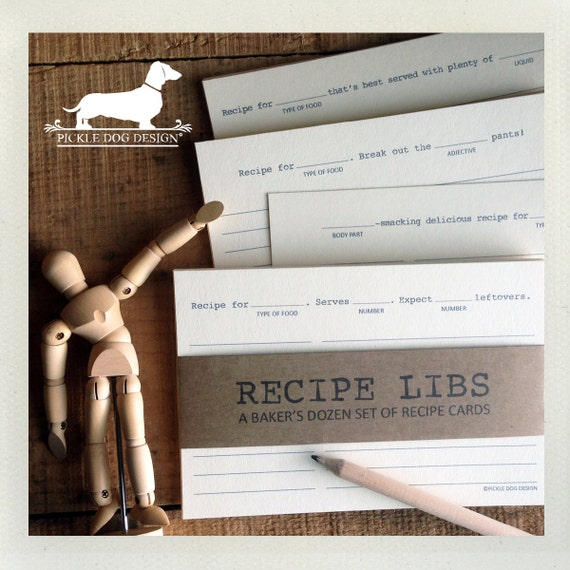 Recipe Libs. A Baker's Dozen (Qty 13) Set of 4x6 Recipe Cards