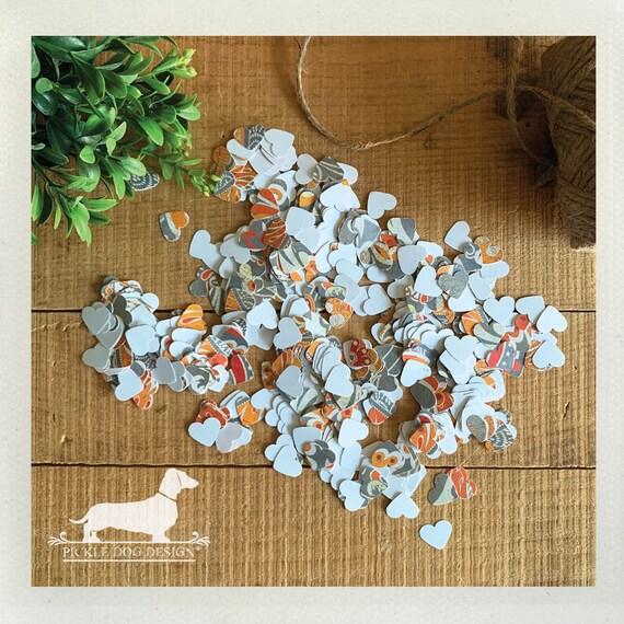 DOLLAR DEAL! Orange n' Gray. Heart Confetti (Qty 250+)