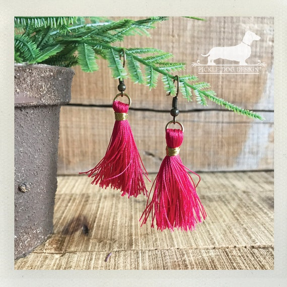 Fuschia Tassel. Dangle Earrings
