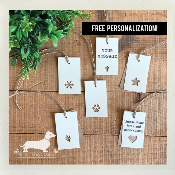 Choose Your Shape. Double Layer Personalized Rectangle Gift Tags (Set of 20)