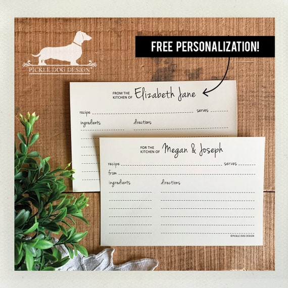 Happy Day. Free Personalization. A Baker's Dozen (Qty 13) Set of Recipe Cards