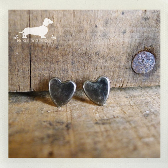 I Heart You. Rustic Silver Heart Post Earrings